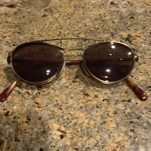 Oliver Peoples glasses with clip on sunglasses